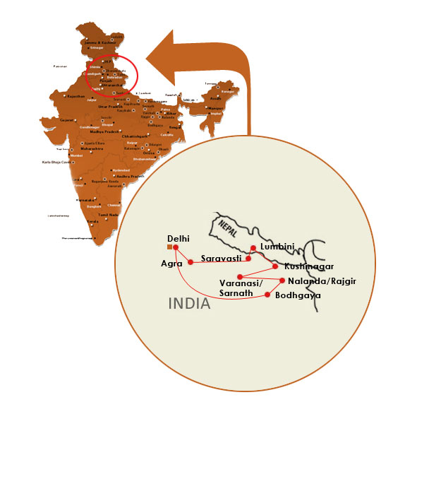 India Buddhist Pilgrimage Map Map Of Buddhist Sites In India Map